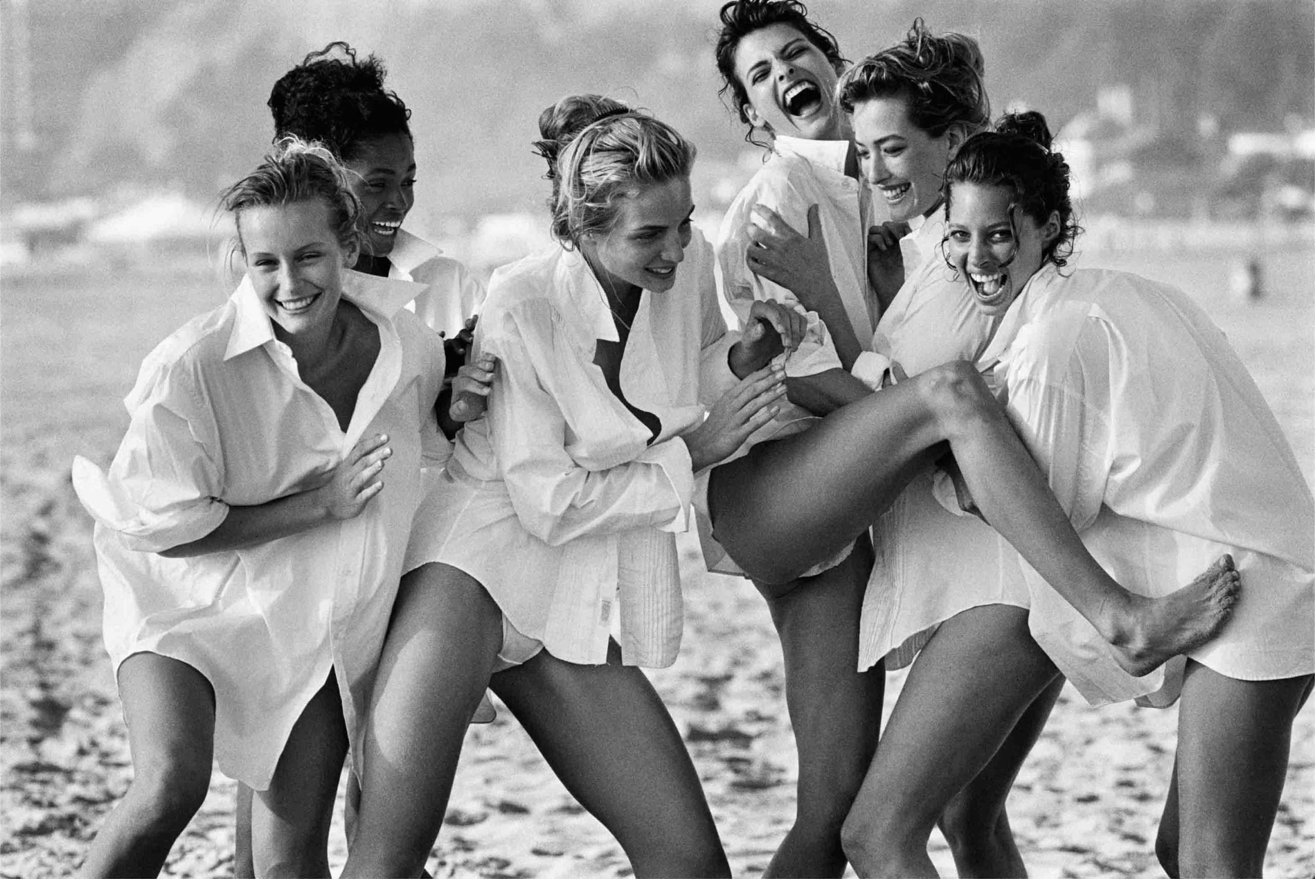 Estelle Lefébure, Karen Alexander, Rachel Williams, Linda Evangelista, Tatjana Patitz, Christy Turlington, 1988.