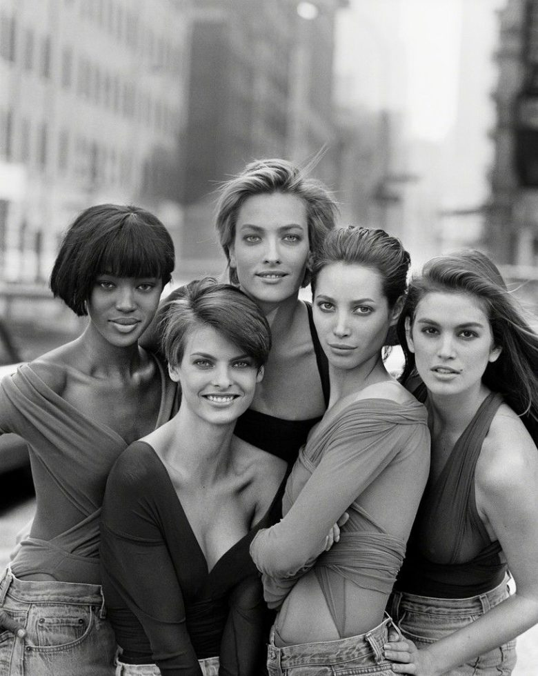 Naomi Campbell, Linda Evangelista, Tatjana Patitz, Christy Turlington and Cindy Crawford, 1989